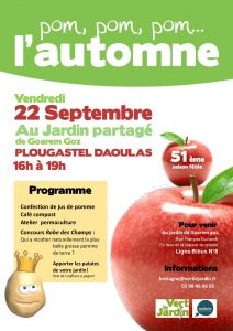 Fête de l'automne aux jardins de Goarem Goz – Vendredi 22 septembre 2017