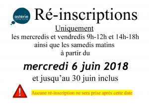 Réinscriptions – mercredi 6 juin 2018