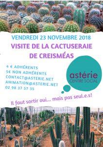 Sortie Loisirs et Découvertes visite de la «Cactuseraie» à Guipavas Vendredi 23 novembre