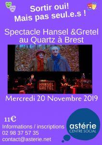 «Sortir oui! Mais pas seul.e.s!»Spectacle de théâtre «Hansel et Gretel» au quartz
